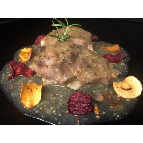 Carrillera de cerdo ibérico con miel y mostaza 250 gr.